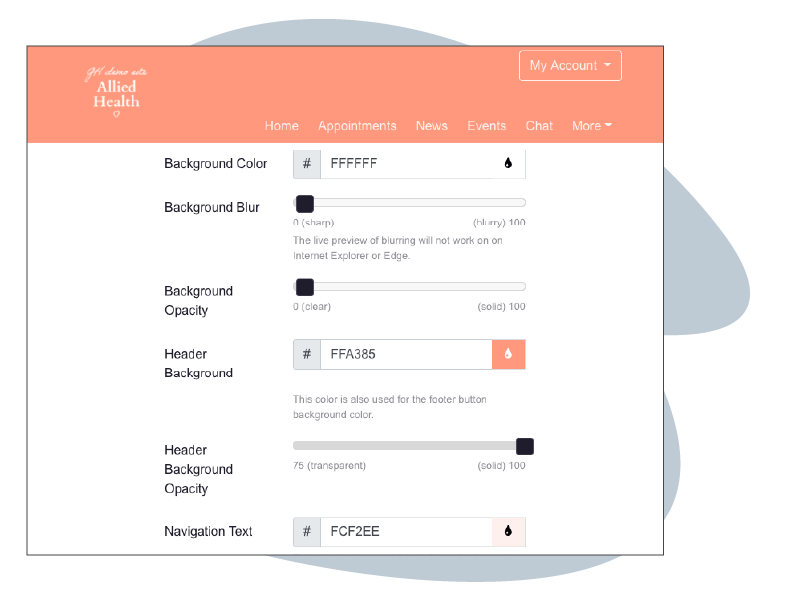 HotHealth manager dashboard branding
