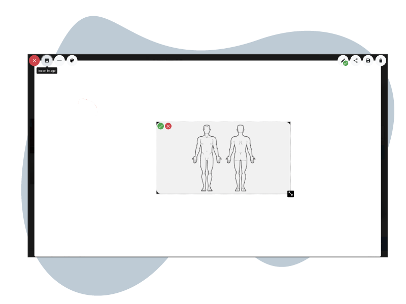 Place images on whiteboard